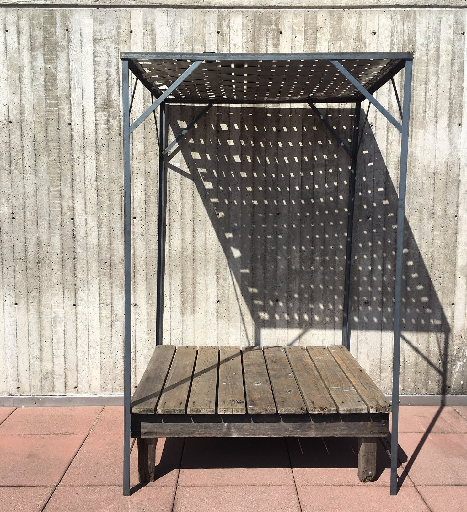 Untitled (metal weave) , 2018, metal, wooden benches on SFAI rooftop, 33in x 29in x 84in